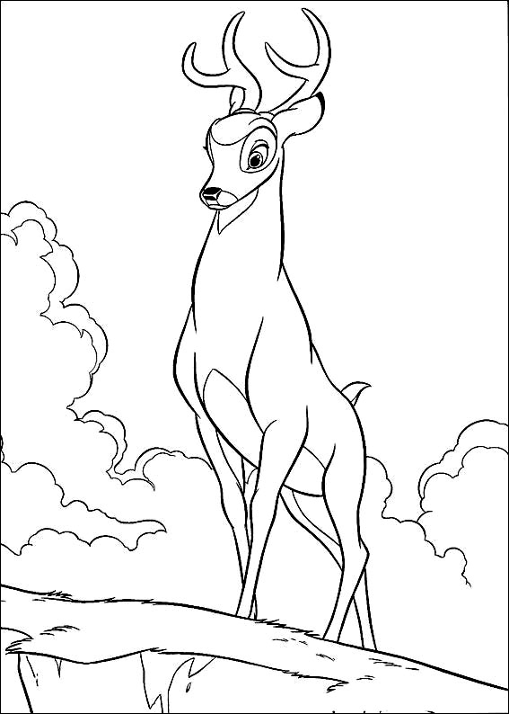 Simple free Bambi coloring page to print and color