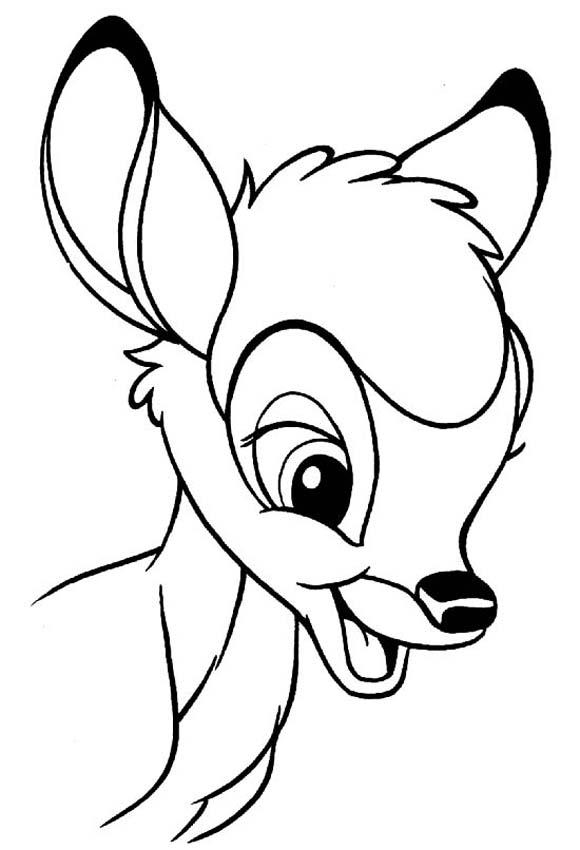 Funny free Bambi coloring page to print and color