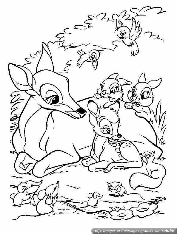 Bambi coloring page with few details for kids