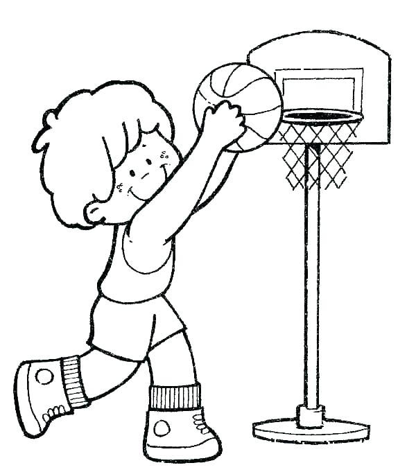 Basketball To Print For Free - Basketball Kids Coloring Pages