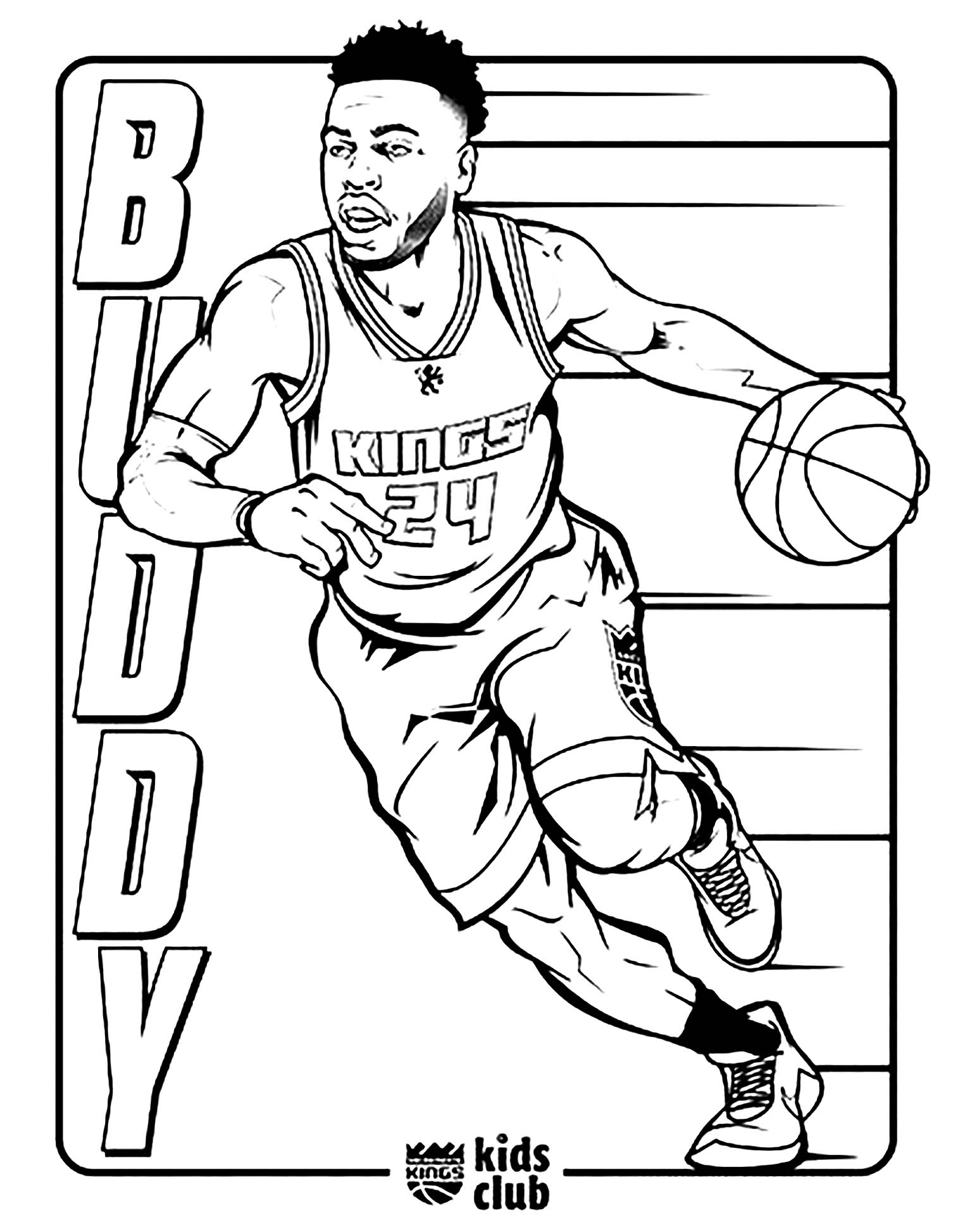 Beautiful Basketball coloring page to print and color