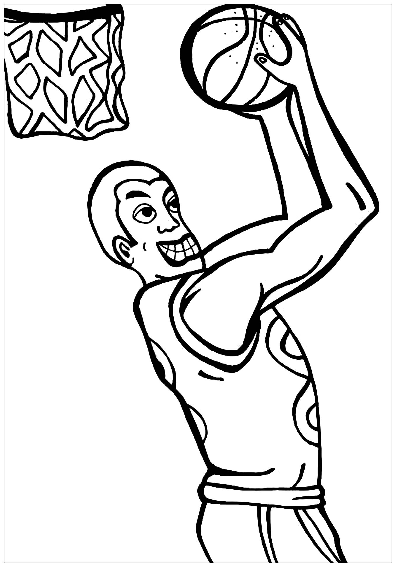 Funny Basketball coloring page for kids