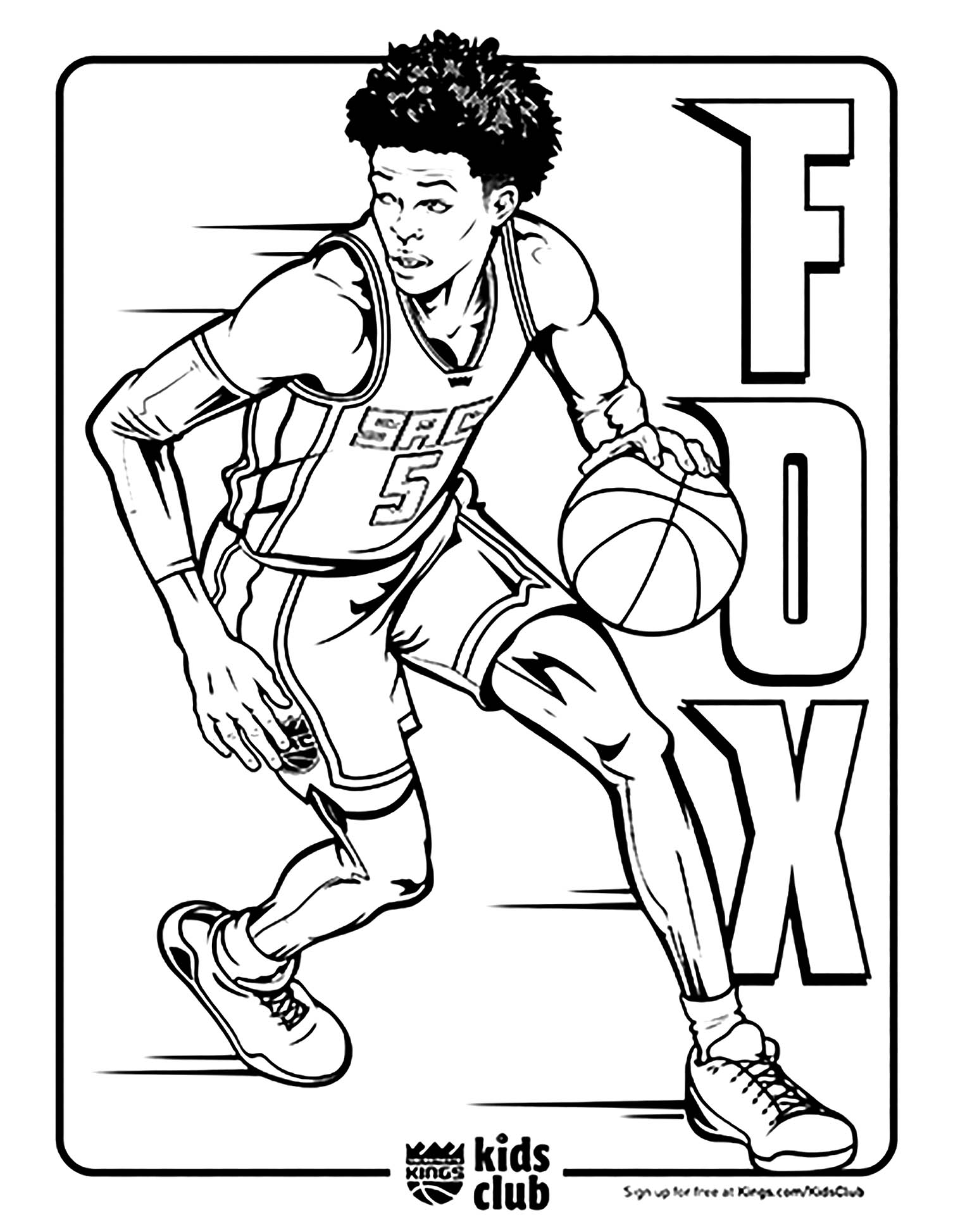 Free Basketball coloring page to print and color, for kids