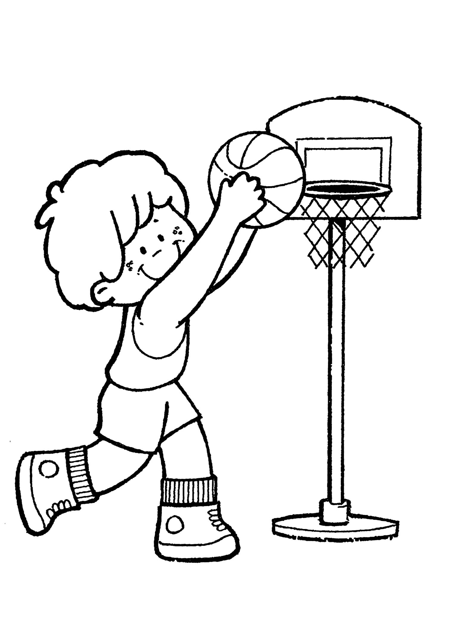 Simple Basketball coloring page for kids