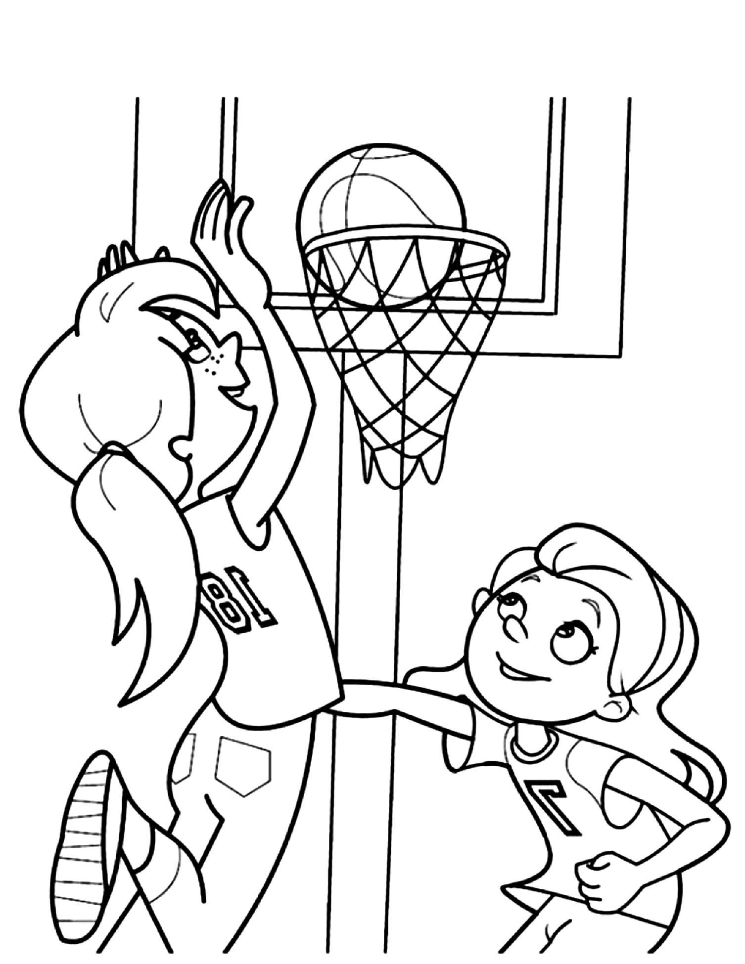 Free Basketball coloring page to download