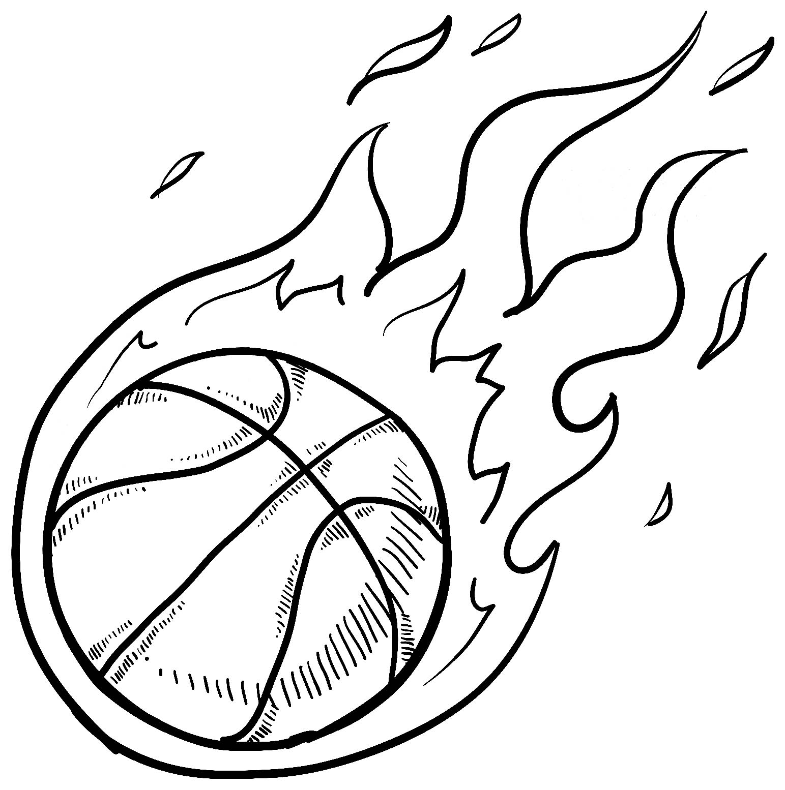 Basketball to color for kids - Basketball Kids Coloring Pages