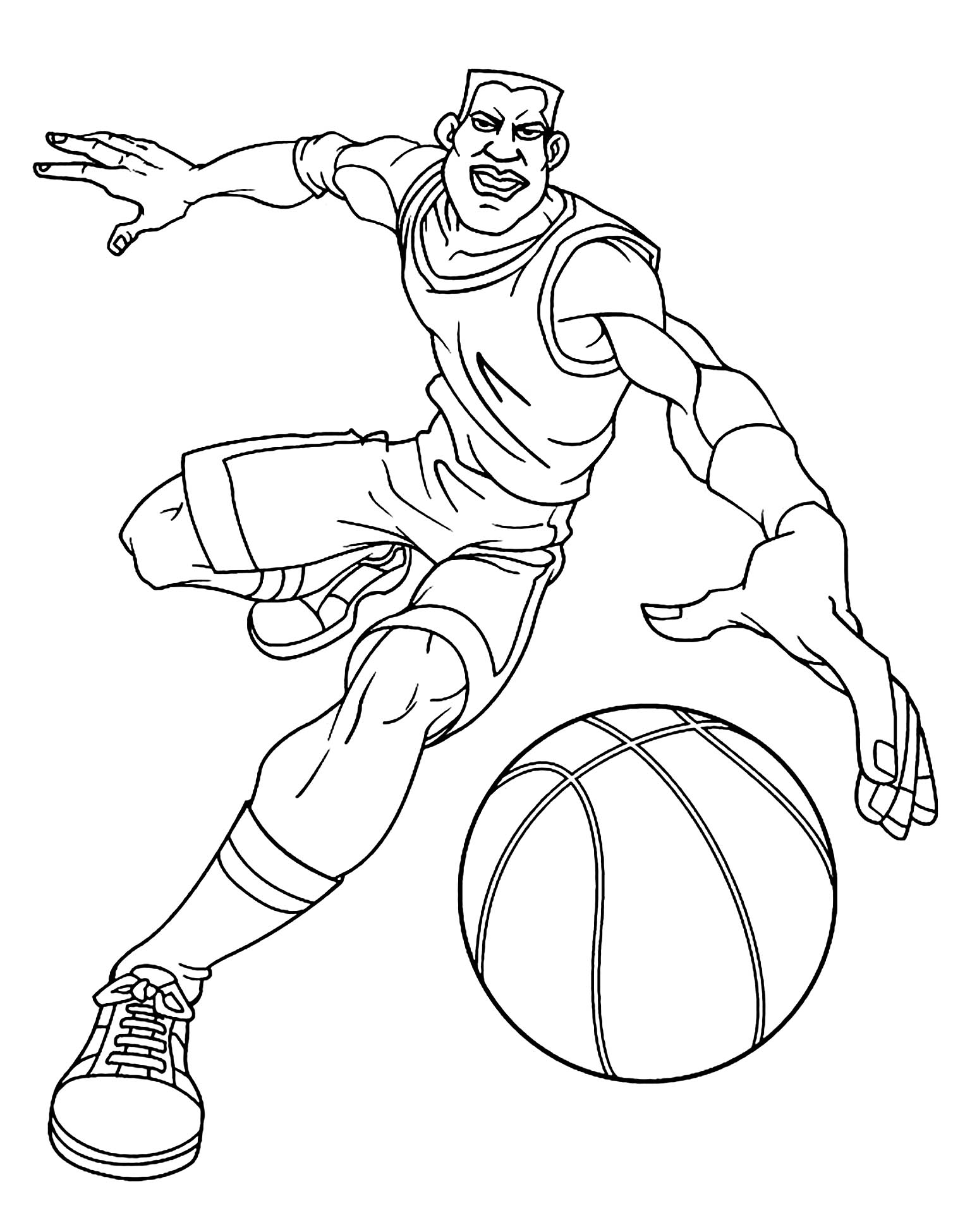 Funny free Basketball coloring page to print and color