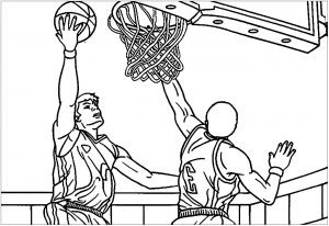 Coloring page basketball to print