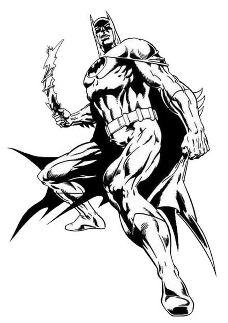 Funny free Batman coloring page to print and color