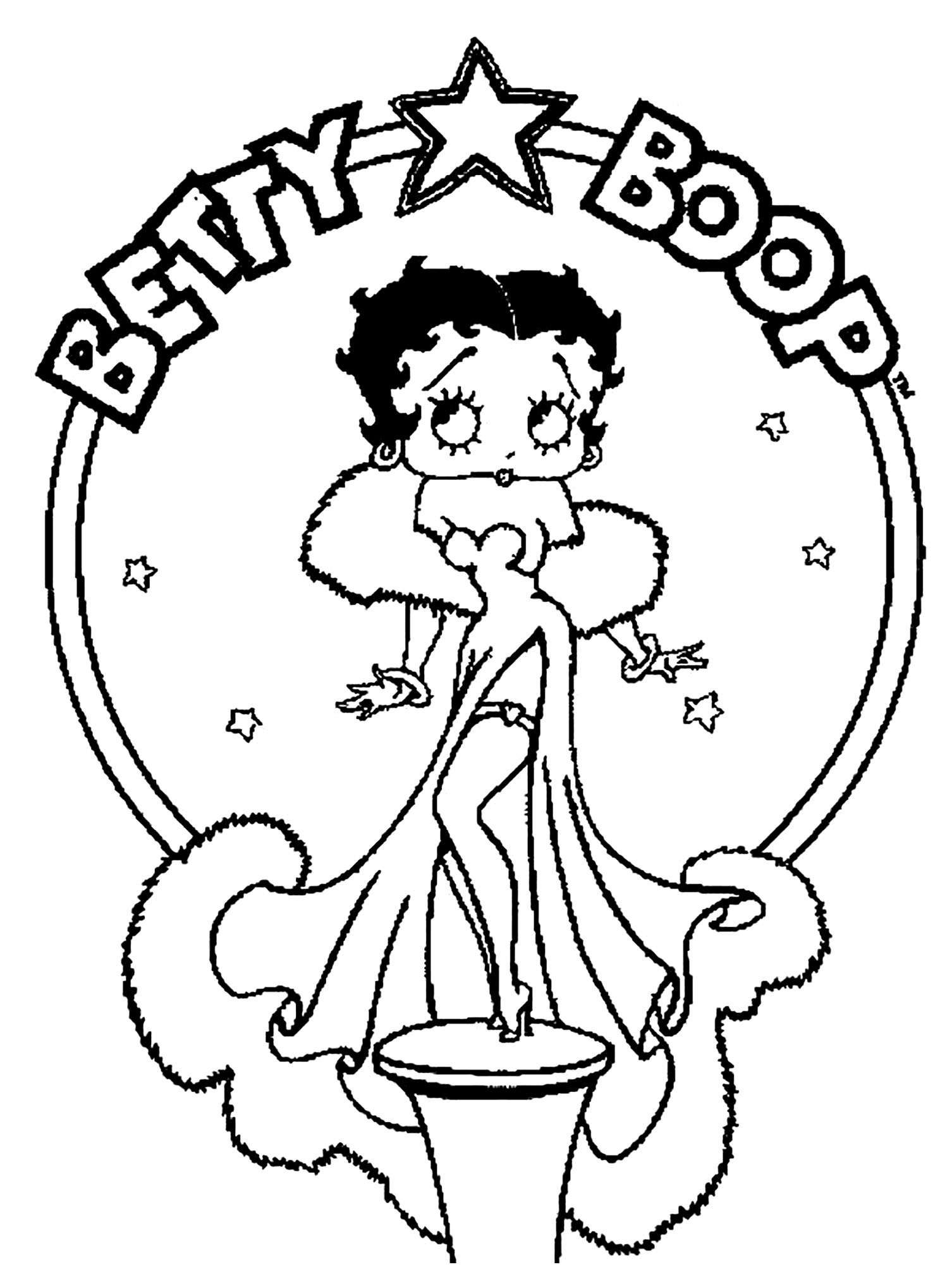 Simple Betty Boop coloring page to download for free