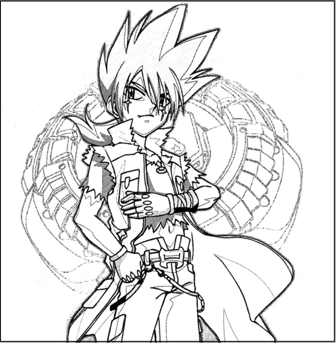 Simple free Beyblade coloring page to print and color