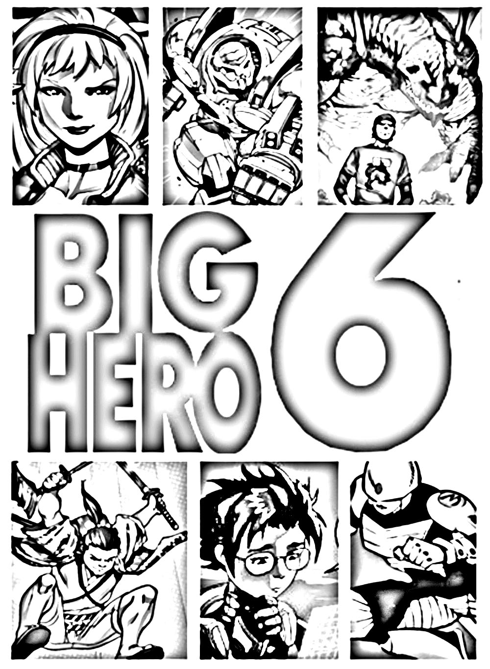 Easy free Big Hero 6 coloring page to download