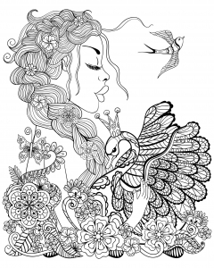Coloring page birds to print