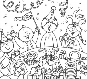 Coloring page birthdays free to color for children