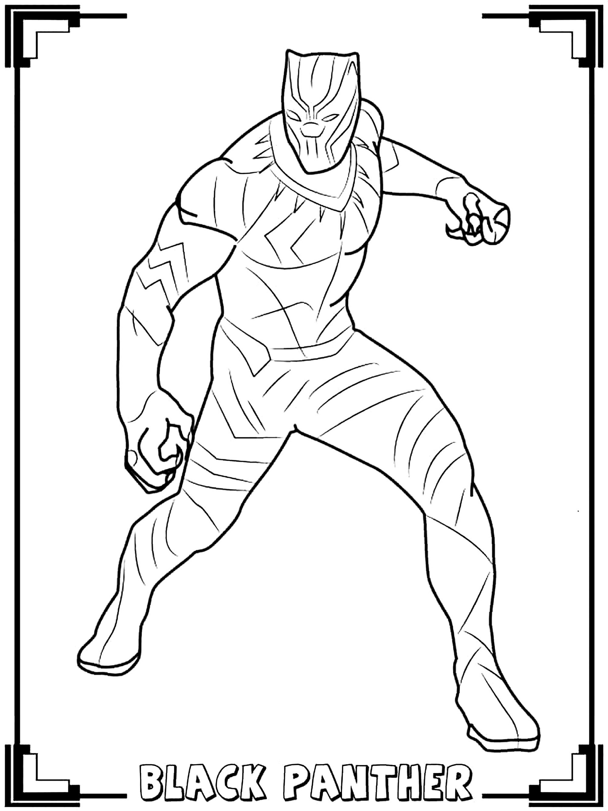Beautiful Black Panther coloring page to print and color