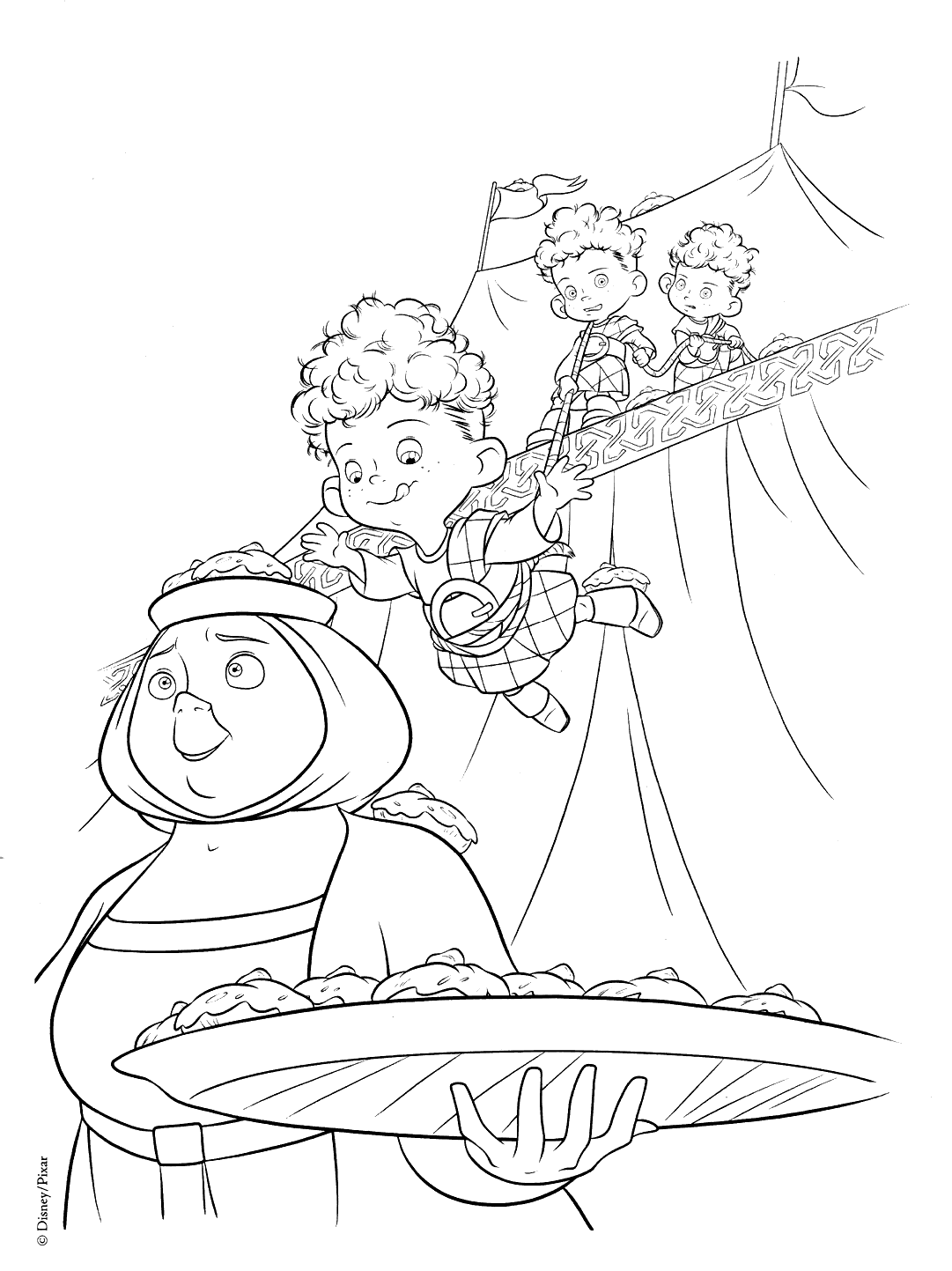 Funny free Brave coloring page to print and color