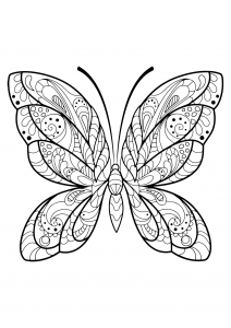 Coloring page butterflies to print