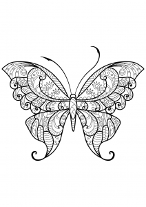 Coloring page butterflies to download for free