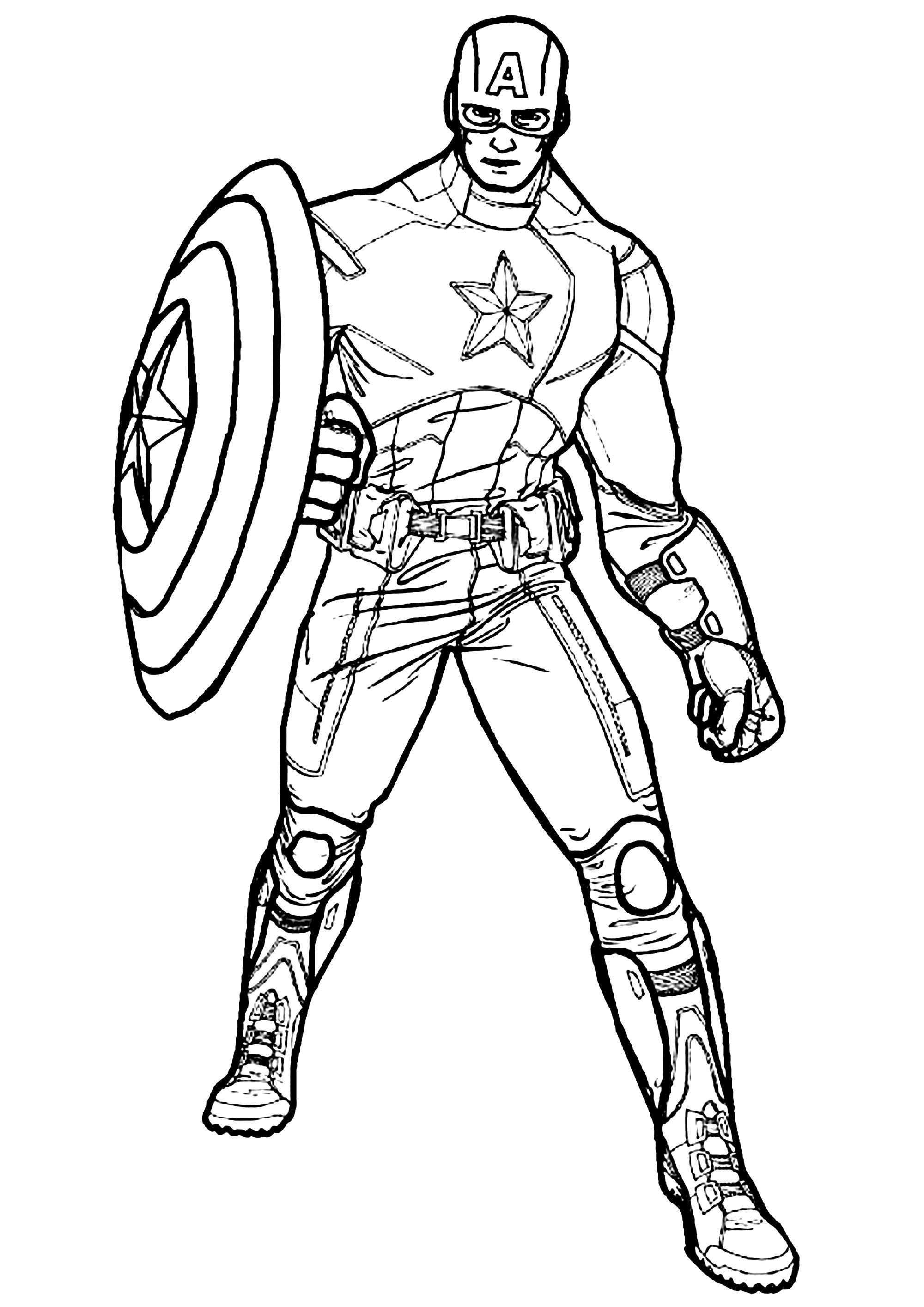 Captain America - Captain America Kids Coloring Pages