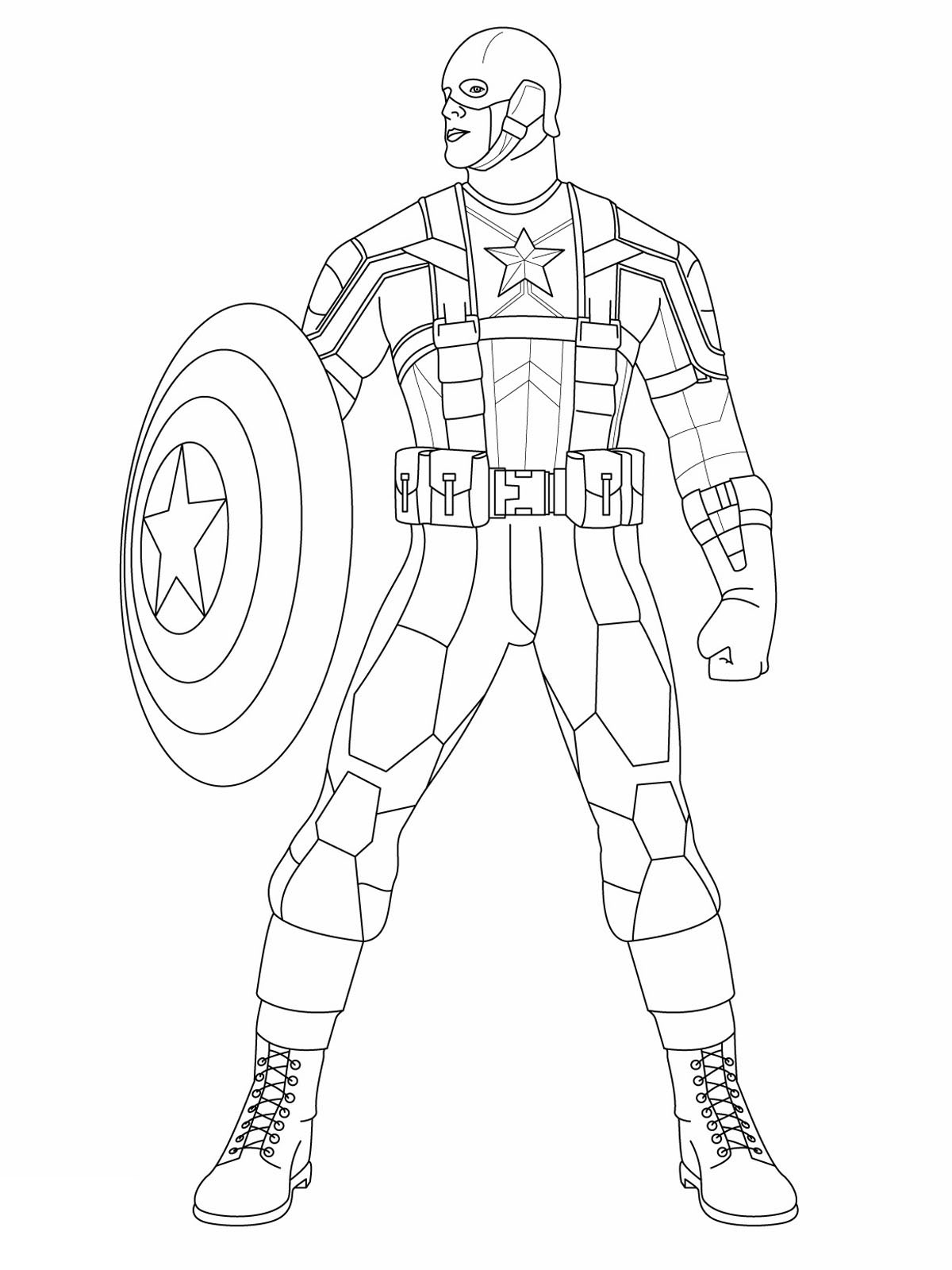 Easy free Captain America coloring page to download