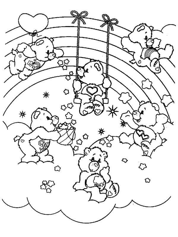 Simple Care bears coloring page to download for free