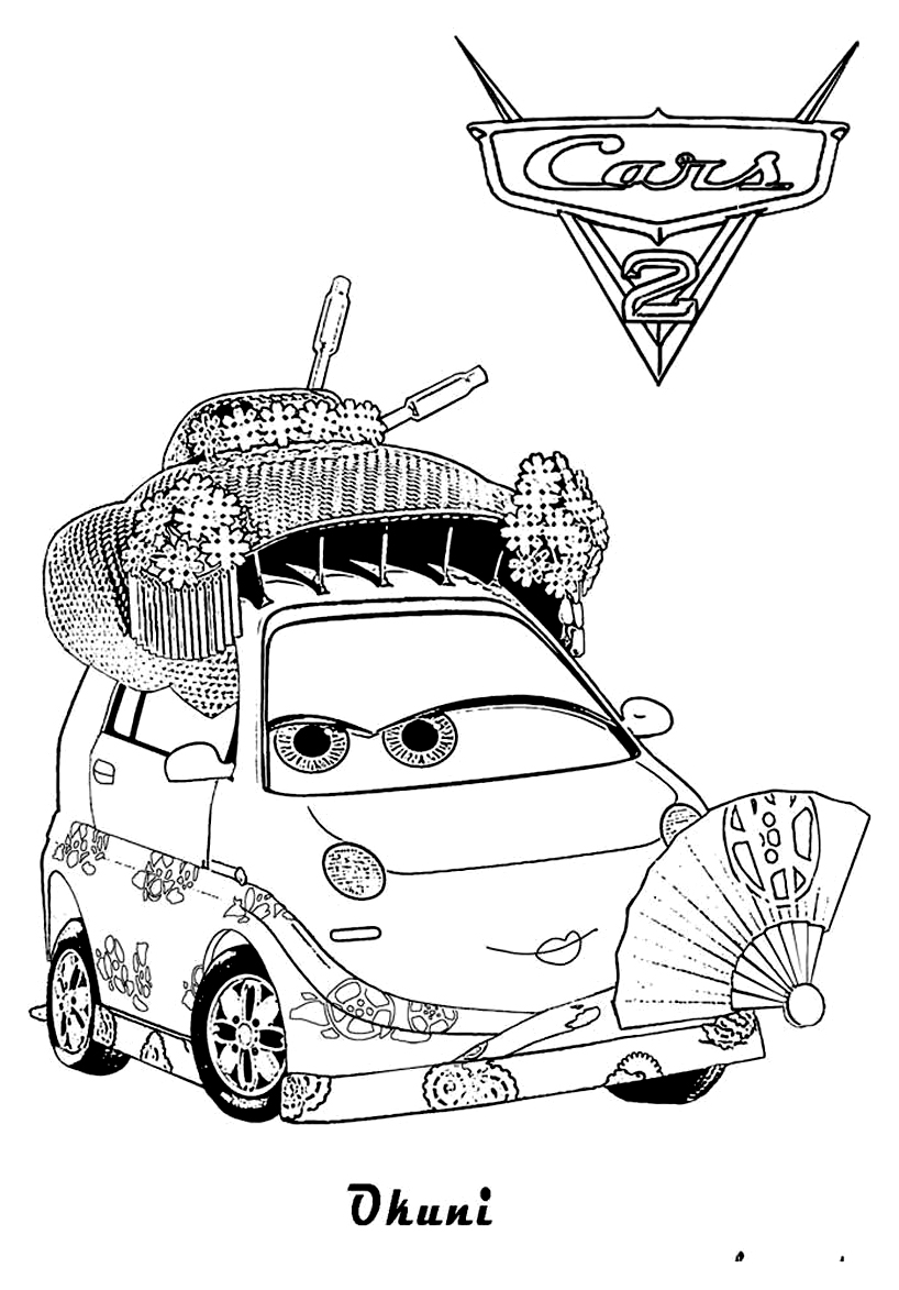 Free Cars 2 coloring page to print and color