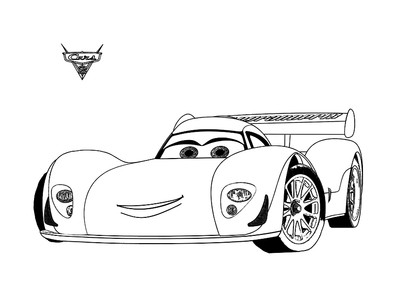 Funny Cars 2 Coloring Page For Children