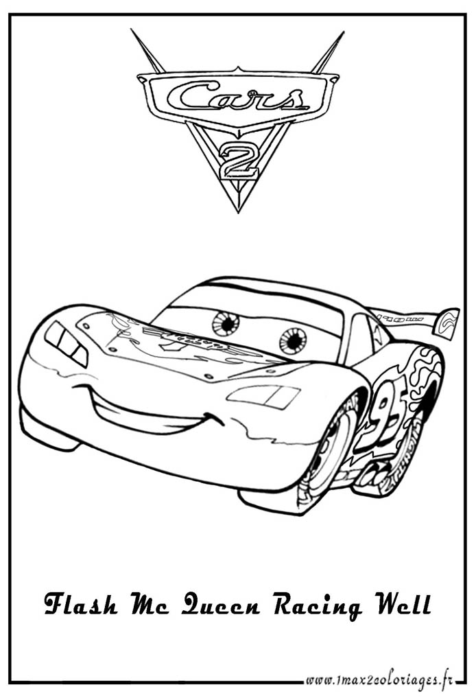 Easy free Cars 2 coloring page to download
