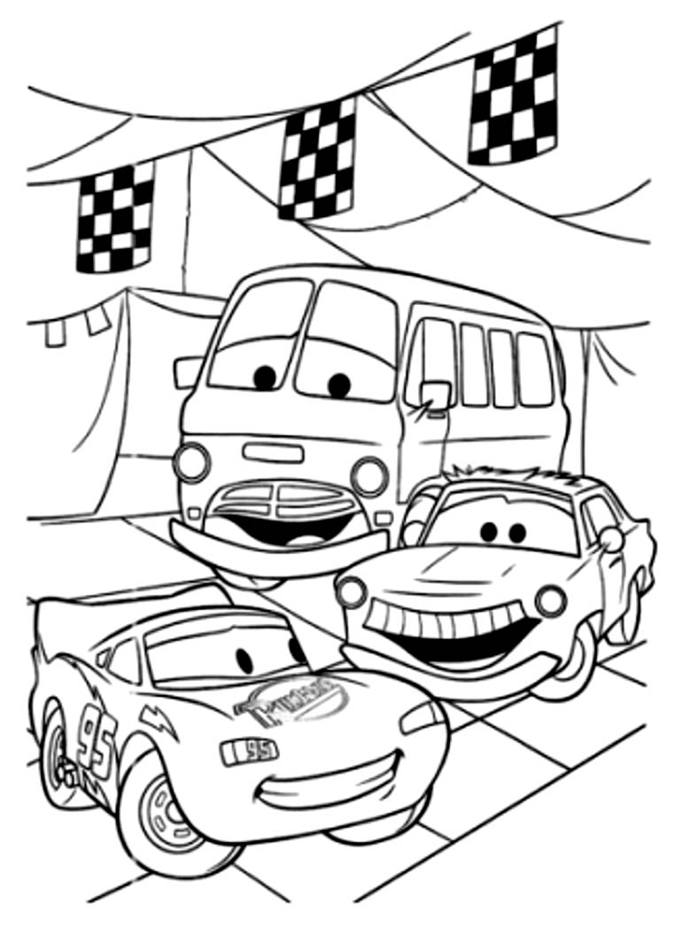 Simple Free Cars Coloring Page To Print And Color