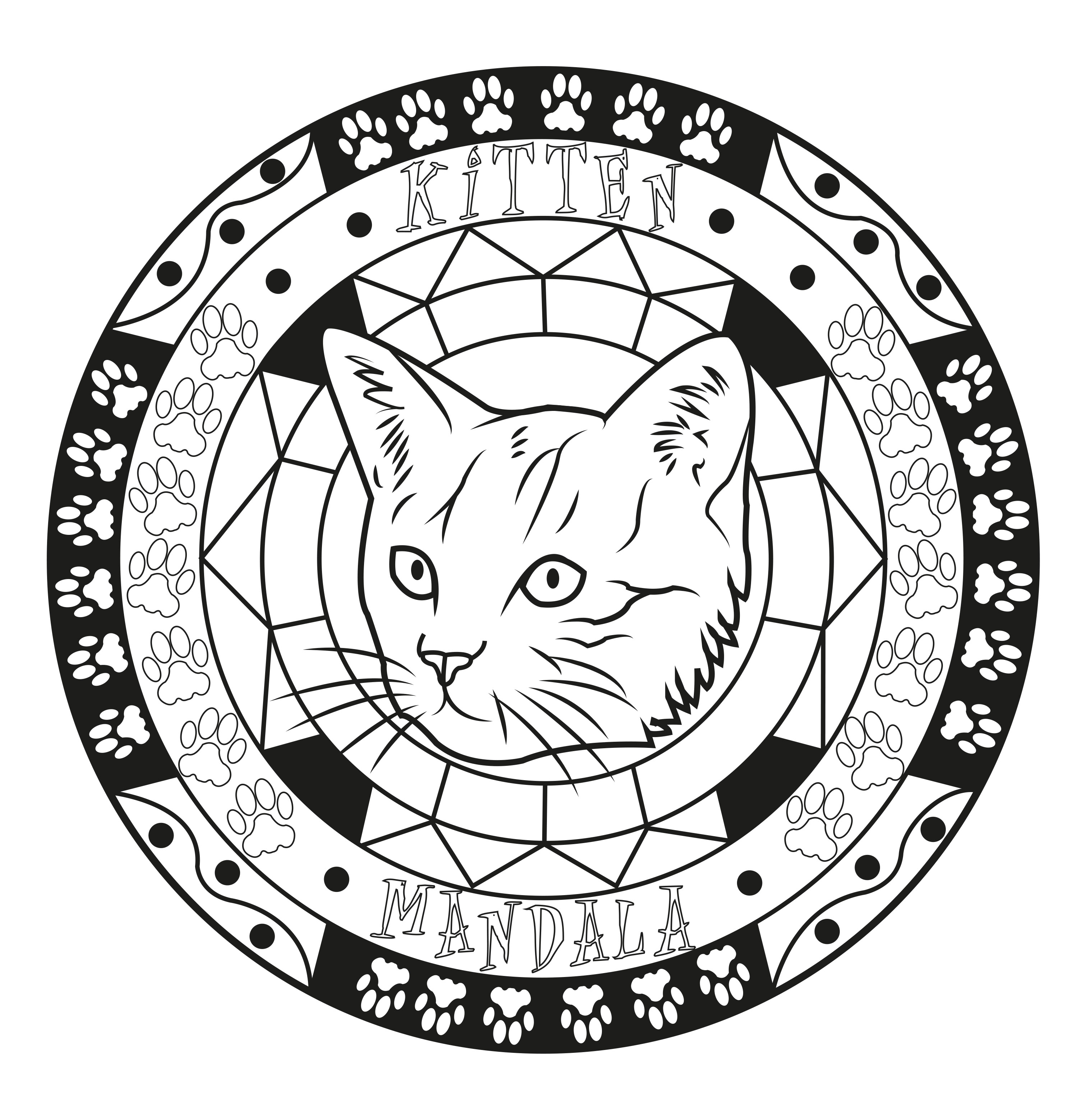 Free Cat coloring page to download : Simple mandala cat