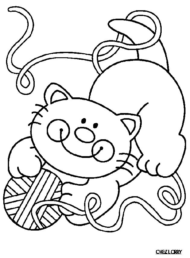 Simple Cat coloring page to print and color for free