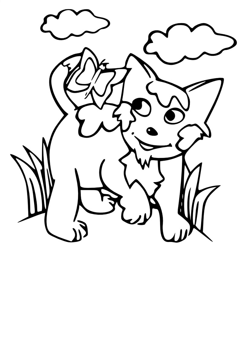 Cute free Cat coloring page to download