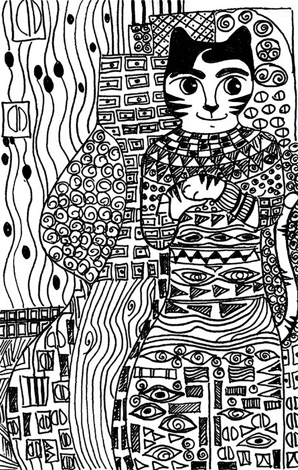 Cats coloring page to print and color for free : Klimt cat