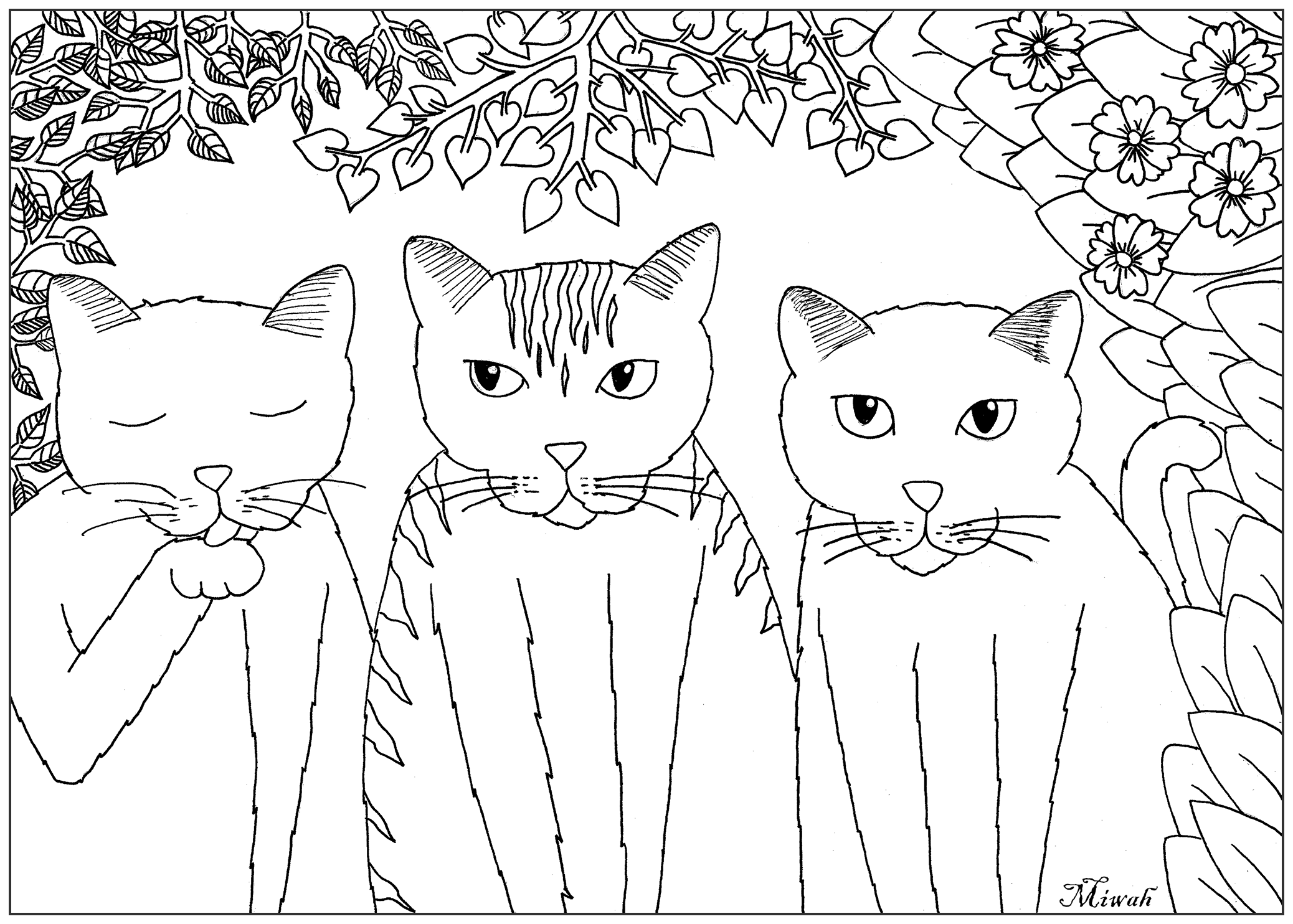 Simple Cat coloring page to download for free : Three little cats