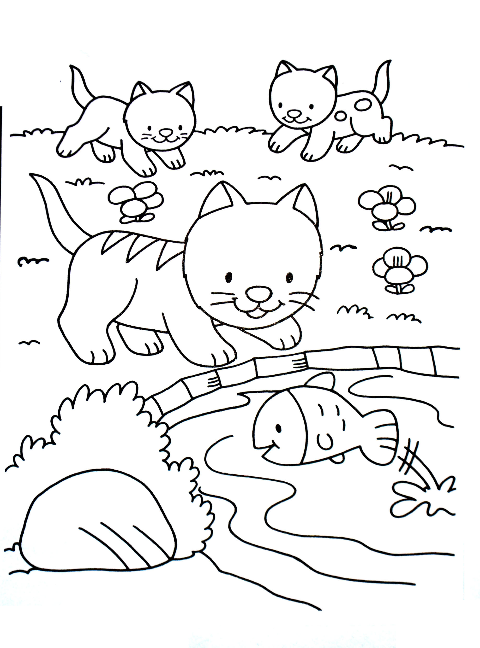 Simple Cat coloring page for kids : Kittens playing and fish