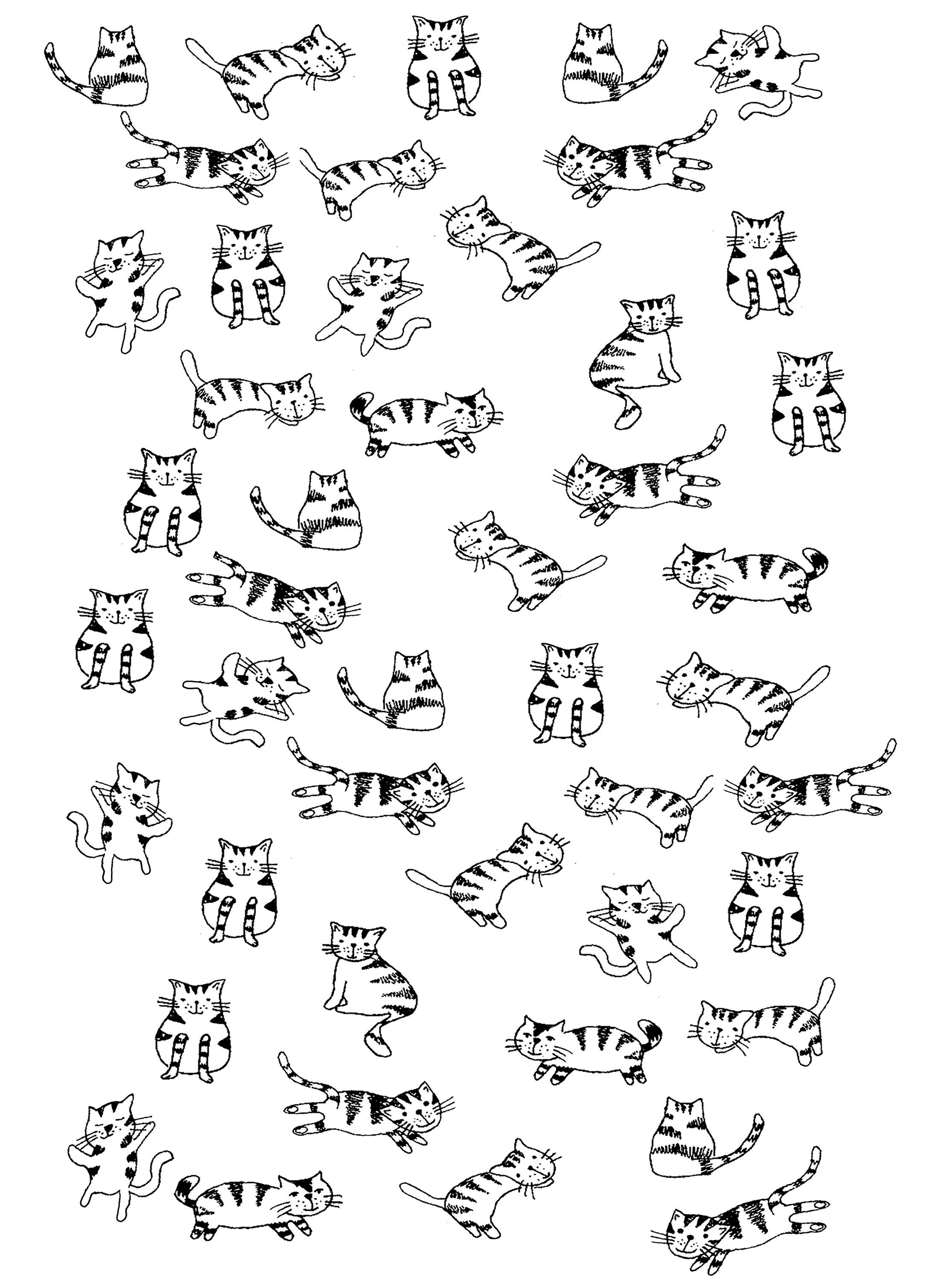 Simple Cat coloring page : Drawing full of little cats