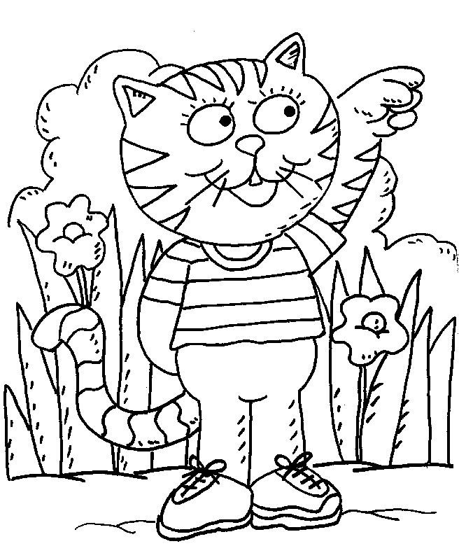 Funny Cat coloring page for children