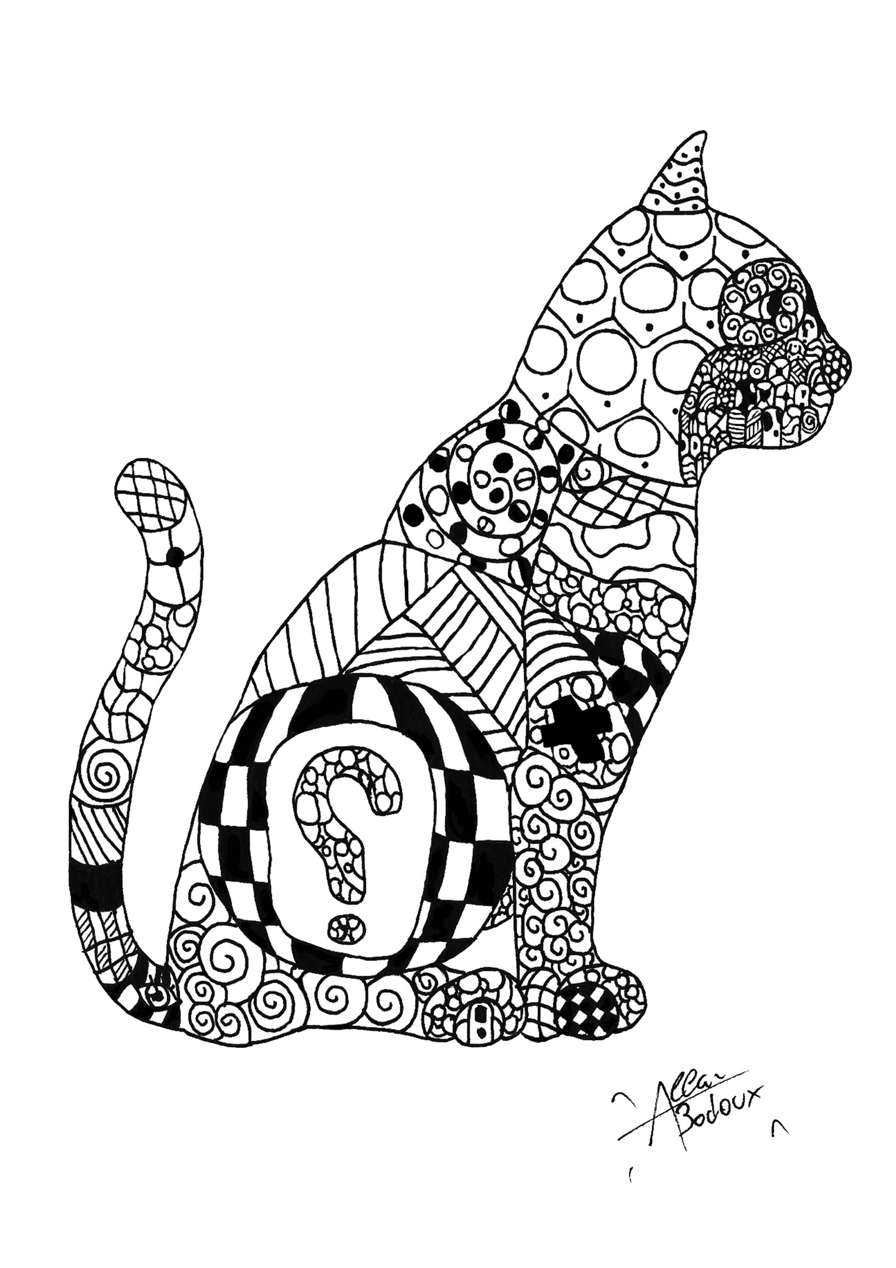 Cat coloring page to download for free : Zentangle patterns in a beautiful drawing representing a cat