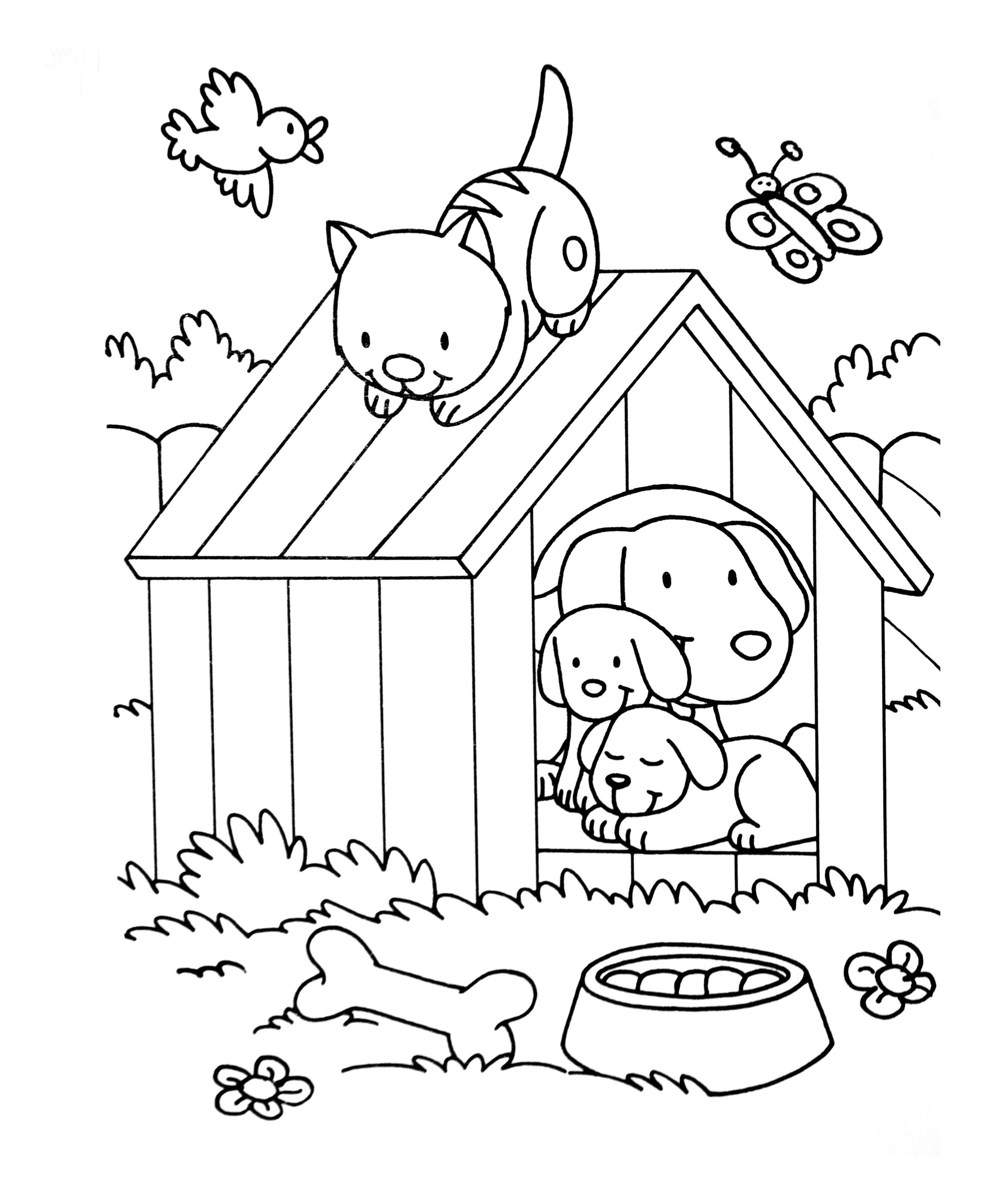 Cat free to color for kids : Kennel with cats and dogs - Cats Kids Coloring Pages