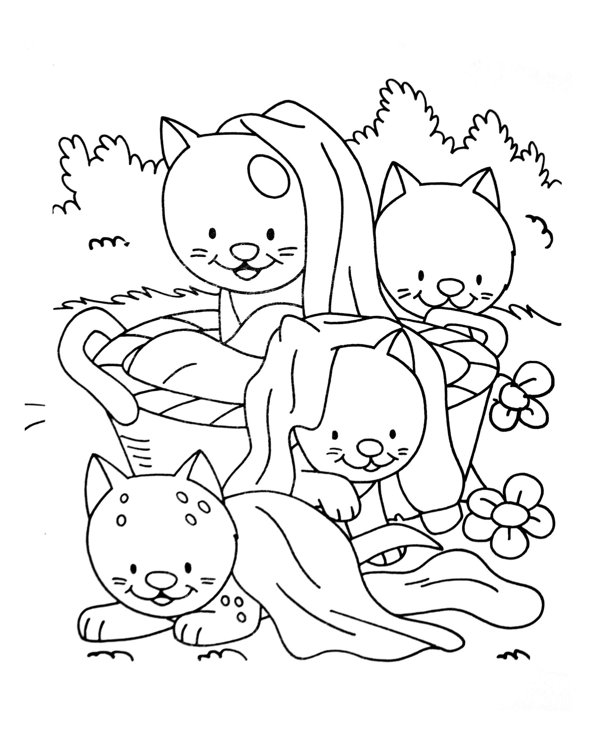 Simple Cat coloring page for kids : Four cats