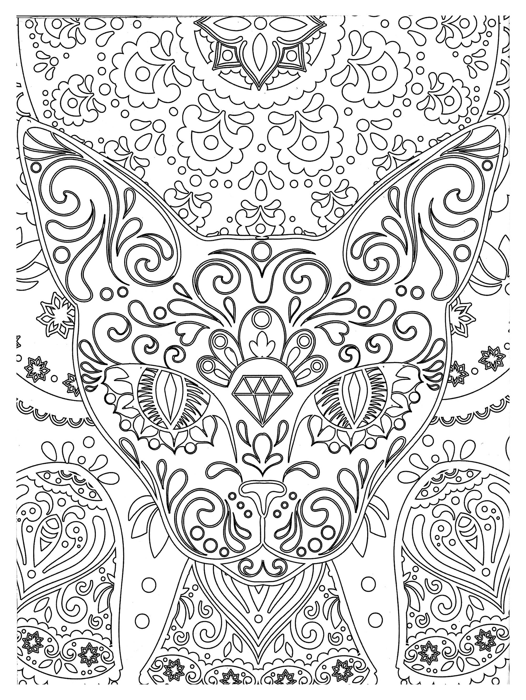 Simple Cat coloring page to download for free : Cat head and elegant patterns