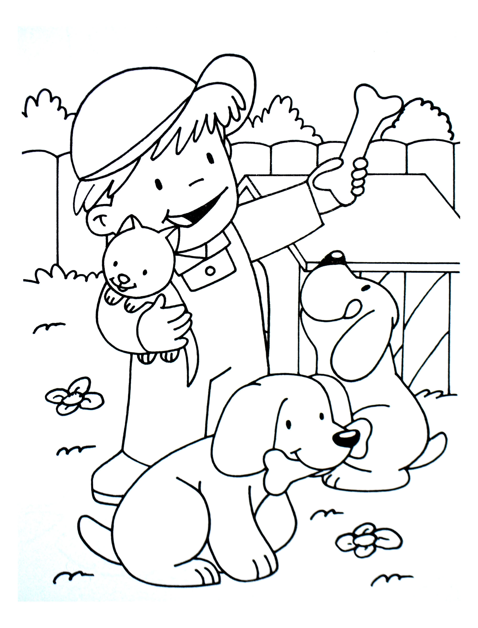 Simple Cat coloring page for children : Little farmer boy with kitten and dogs