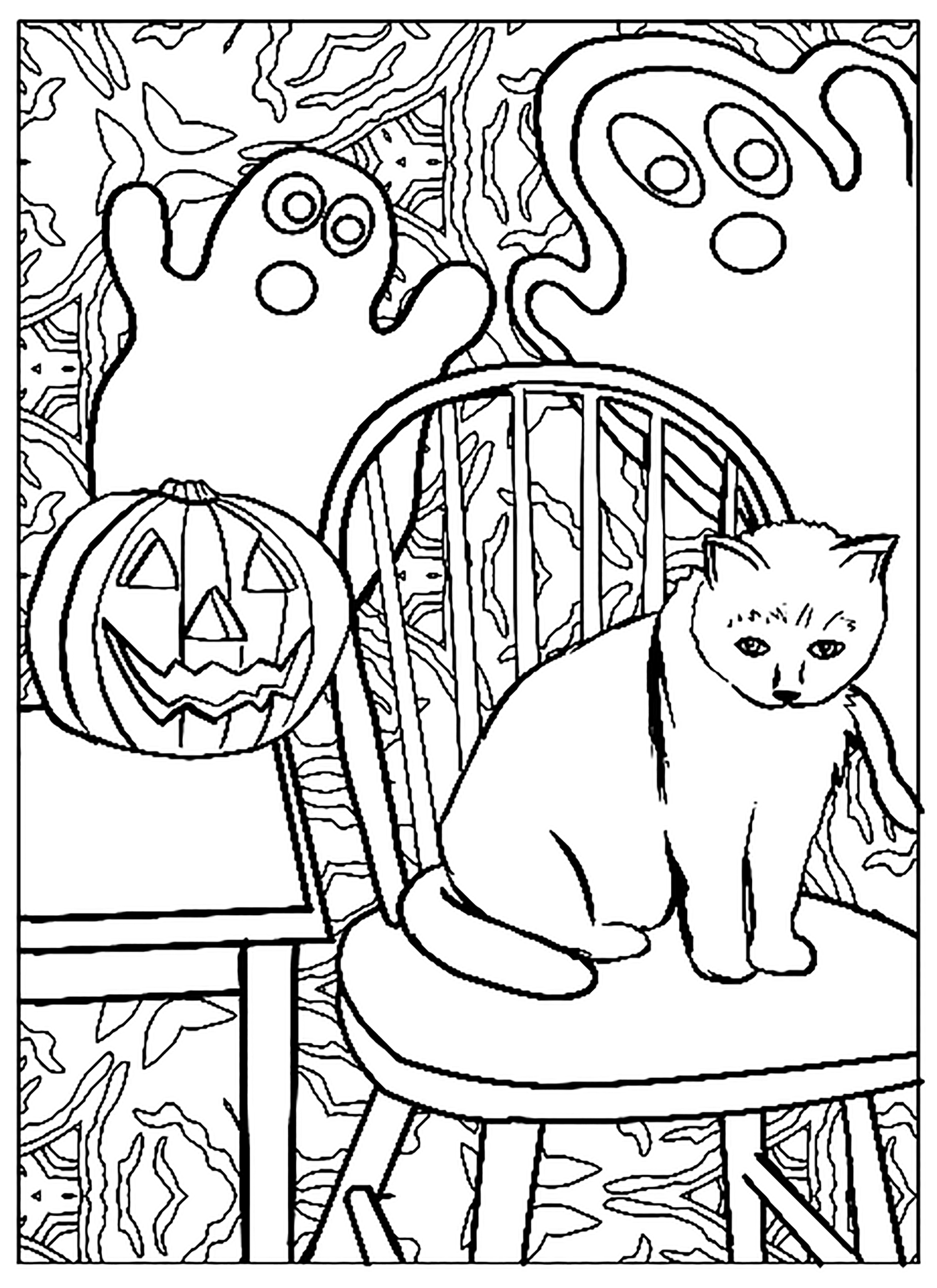 Funny Cats coloring page for kids : Cat and ghosts !