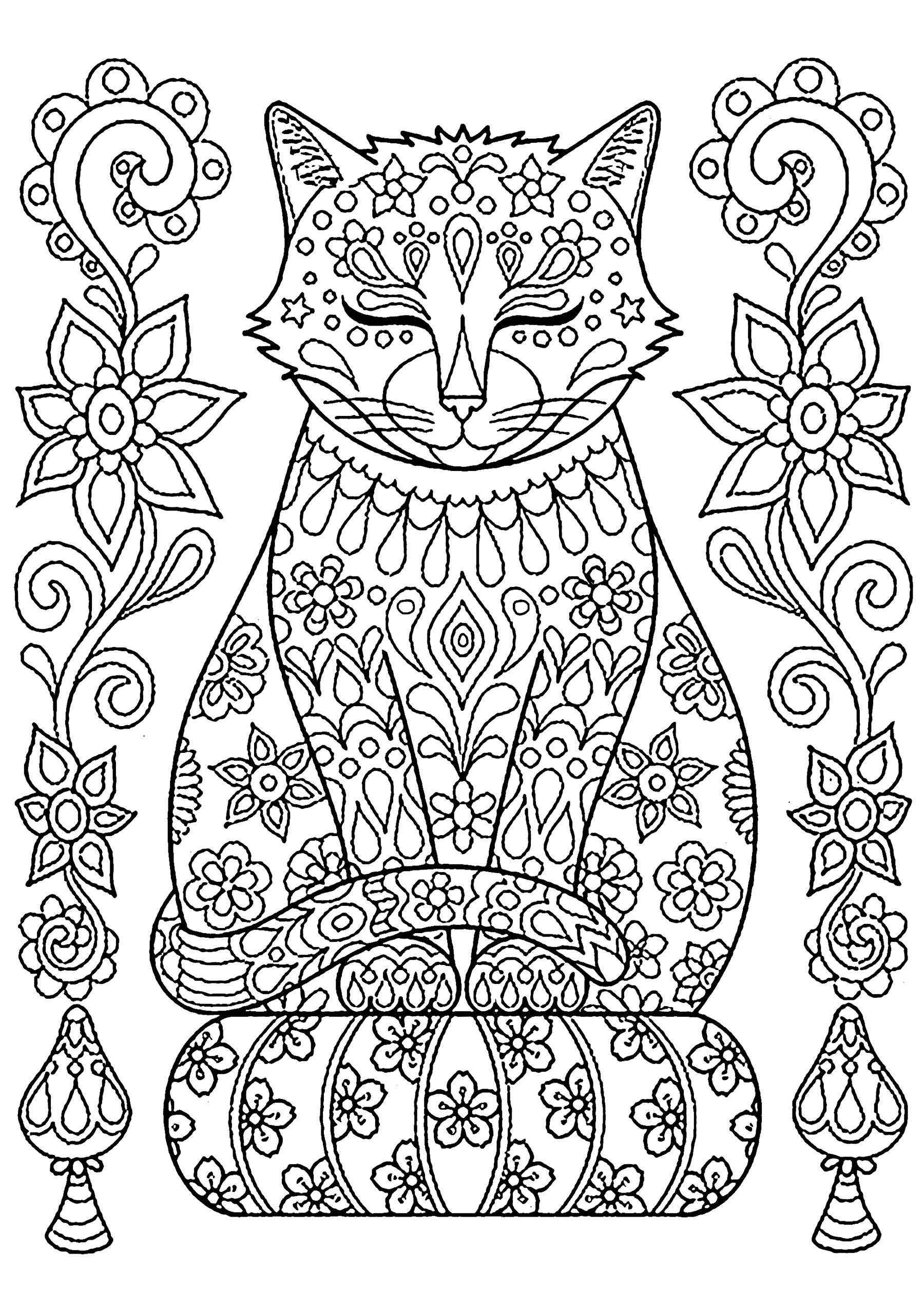 Funny free cats coloring page to print and color