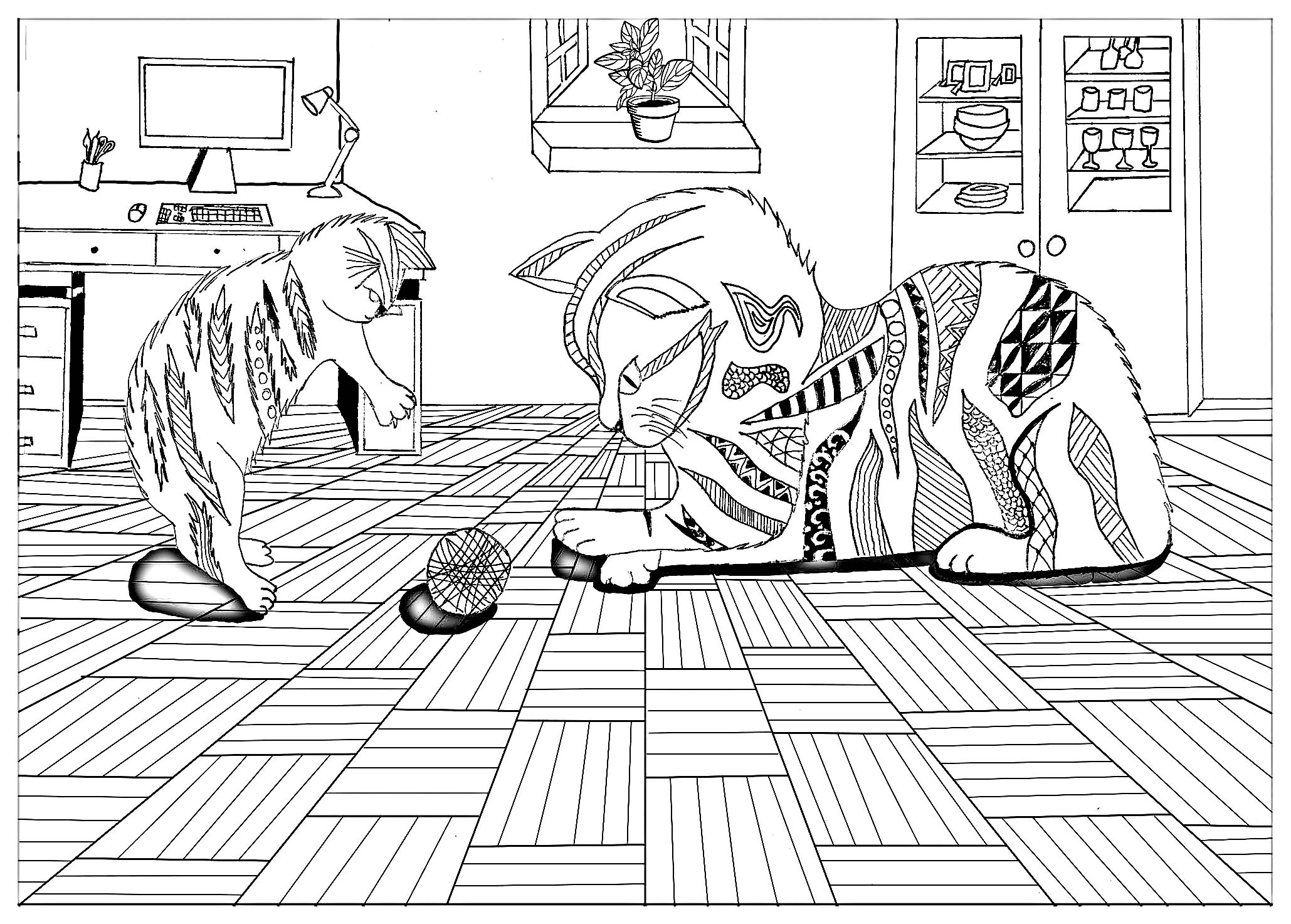 Cats Coloring Page To Print And Color