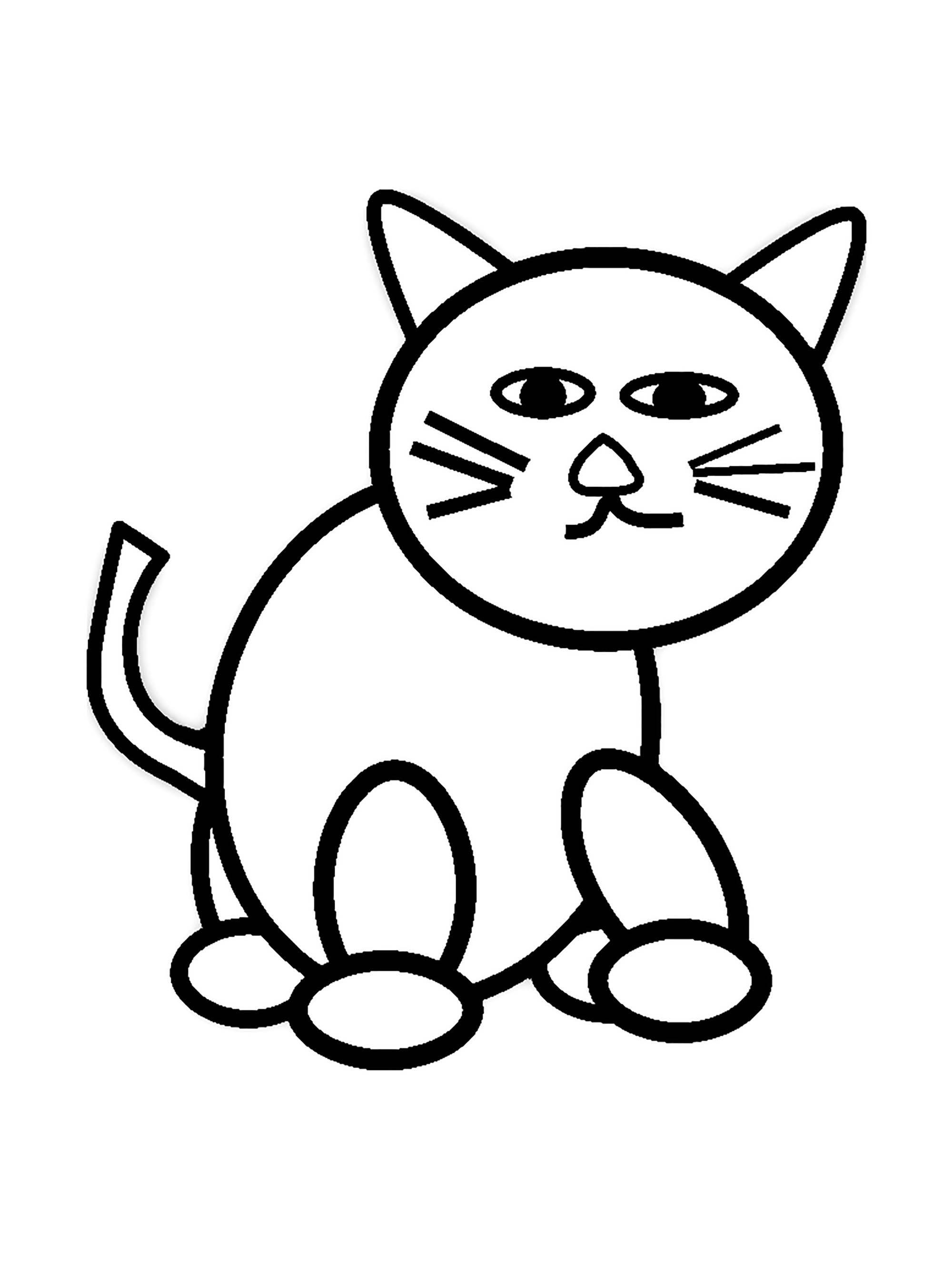 Cat For Kids Simple Drawing Cats Kids Coloring Pages