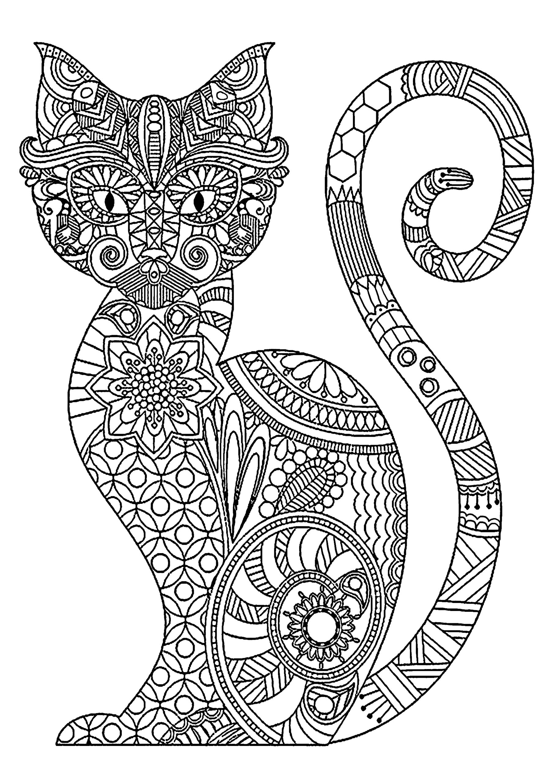 Cat coloring page to download : Cute cat with cool patterns