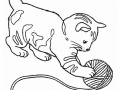 Coloring page cat to print : Kitten playing
