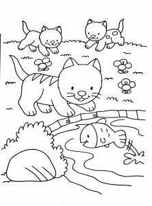 Cute coloring page with kittens
