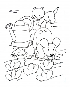 Coloring page cat to color for children : kitten and mouses